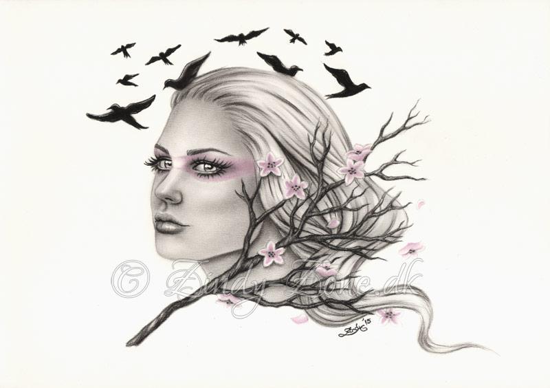 Distant Dreams Cherry Blossom Flying Birds