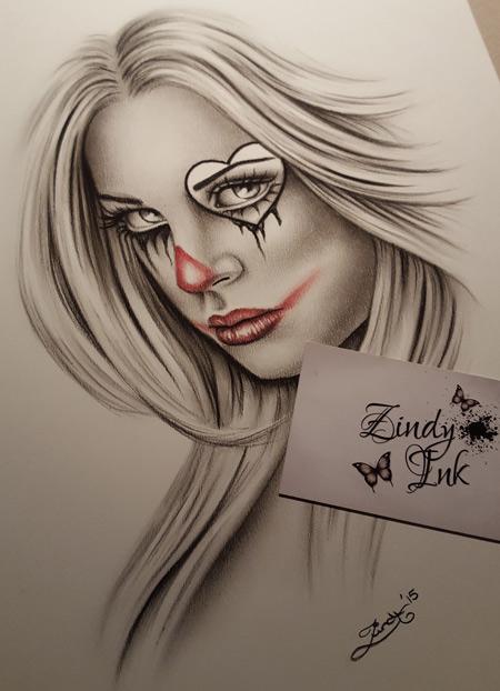 e931bc4f816cf Break my heart Chicano Clown Girl - Zindy Ink, Tattoo artist ...