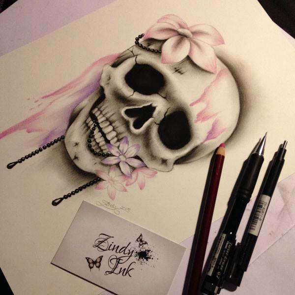 Skull Pink Purple Sweet Decay