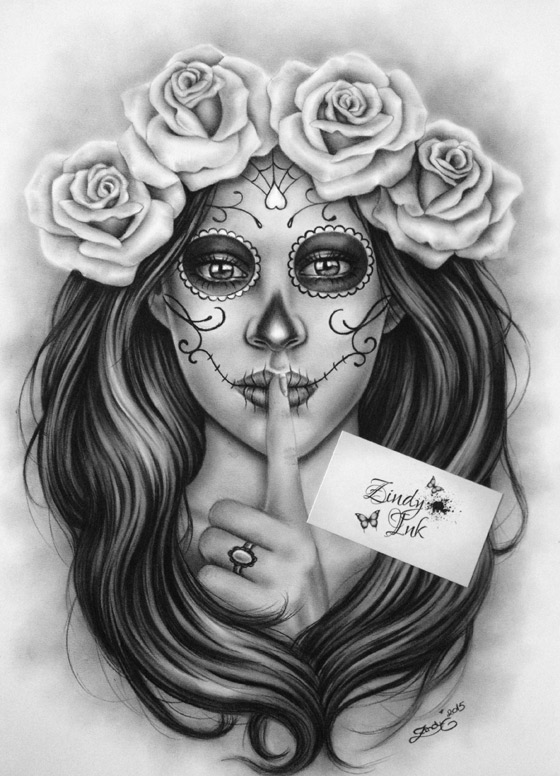 Day Of The Dead Muertos Zindy Ink Tattoo Artist Illustrator